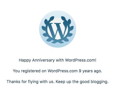 9 year anniversary notification for WordPress.com