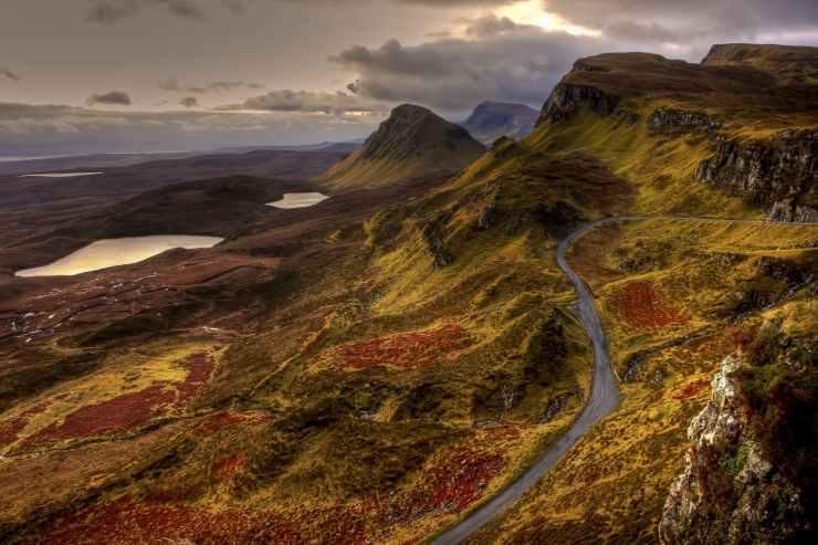 road landscape water mountain